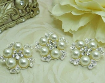 5 Elegant Metal Rhinestone Faux Pearl Buttons Truly Elegant Metal Pearl Rhinestone Buttons Gorgeous Bridal Buttons Button Bouquet 24MM.