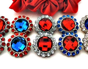 Royal Blue Red Clear Rhinestone Button W/ Surrounding Acrylic Rhinestones DIY Embellishments Garment Wedding Coat Buttons  26mm 3185 R
