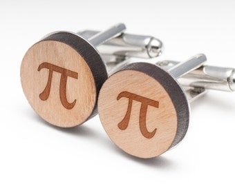 Pi Wood Cufflinks Gift For Him, Wedding Gifts, Groomsman Gifts, and Personalized