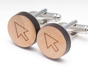 Pointer Wood Cufflinks Gift For Him, Wedding Gifts, Groomsman Gifts, and Personalized