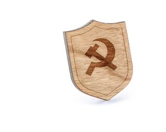 Communist Lapel Pin, Wooden Pin, Wooden Lapel, Gift For Him or Her, Wedding Gifts, Groomsman Gifts, and Personalized