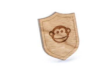 Monkey Face Lapel Pin, Wooden Pin, Wooden Lapel, Gift For Him or Her, Wedding Gifts, Groomsman Gifts, and Personalized