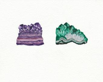 "Geode Watercolor Gemstone 5""x7"" Fine Art Print"