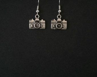 Retro Camera Themed Drop Earrings.
