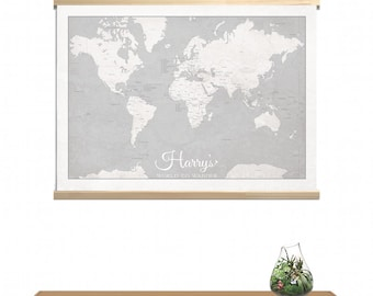 Custom canvas WORLD TO WANDER kids map 50x70cm