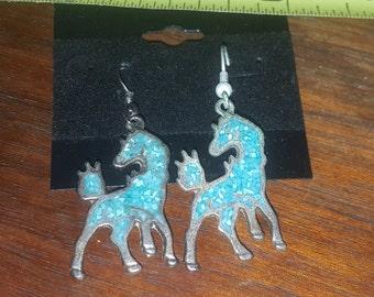 HORSE EARRINGS TURQUOISE enamel silver dangle
