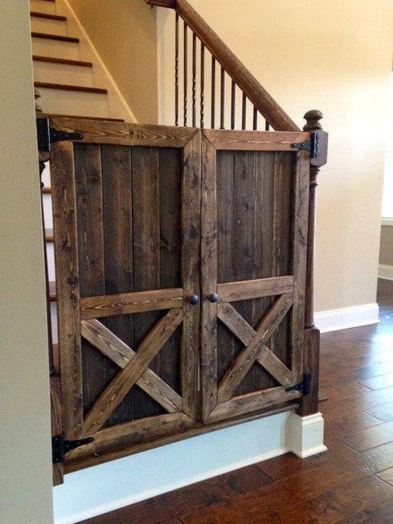 Rustic Tall Baby Gate Door By Vineyardwoodshop On Etsy