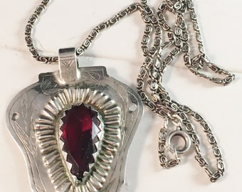 Antique Swedish Silver w Red Stone Pendant Necklace