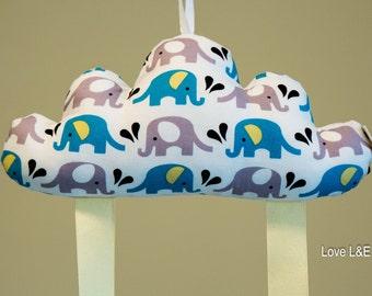 Hair bow holder, Hair bow organizer- Blue elephant cloud cushion S