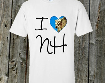 I Love NH shirt - Old man of the mountain in the heart