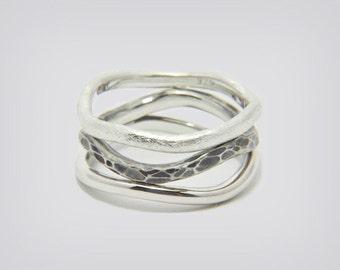 "Ringset ""Minimalist Trio"", 925 silver"