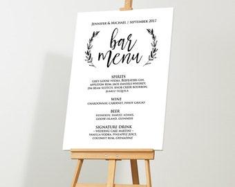 Wedding Bar Menu Sign, Rustic Bar Menu Template, Printable Poster, Instant Download, Editable Text, Digital PDF File, 18x24, 24x36 #LSC06