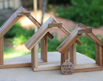 Handmade Wooden House Shaped Wall Hanging - set of x 3