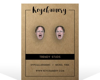 Dwight Schrute Stud Earrings - The Office Stud Earrings Inspired - Tv Show  Stud Earrings