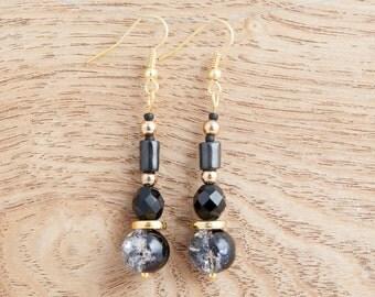 Black & Gold Drop Earrings, Beautiful Gift