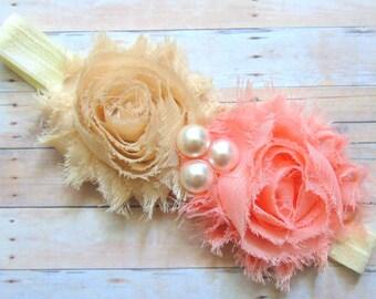 Baby Girl Headband, Shabby Chic Baby Headband, Newborn Headband, Baby Bows, Peach Headband, Toddler Headband, Baby Photos Headband