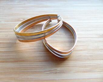 Ovum - 18k Gold Plated Mixed Metal 40mm Stainless Steel Hoop Earrings