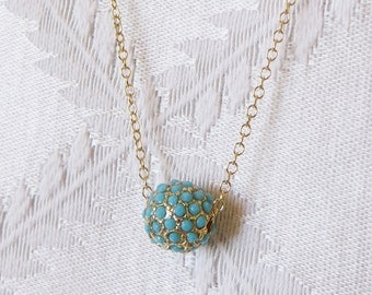Gold Filled  Necklace with Turquoise and Gold Ball Charm, GN-120