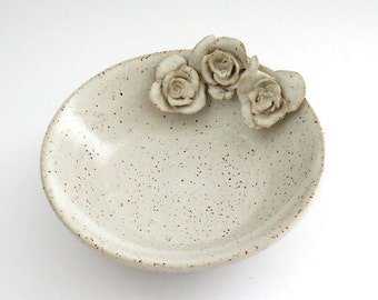 Ceramic dish with roses in cream and burnt orange - handmade pottery