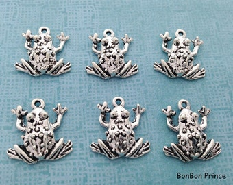10pcs Frog Silver Charm,Silver Frog Pendant,Silver Frog Charm,Animal DIY Jewelry Charm,Silver Frog Bracelet Bangle Necklace Charm,CS126 back