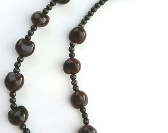 Dark Brown Hawaiian Hard-Shelled Kukui Nut Necklace