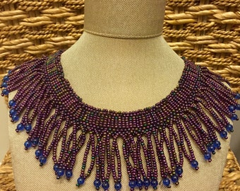 Stunning Beaded Blue And Purple Beaded Necklace