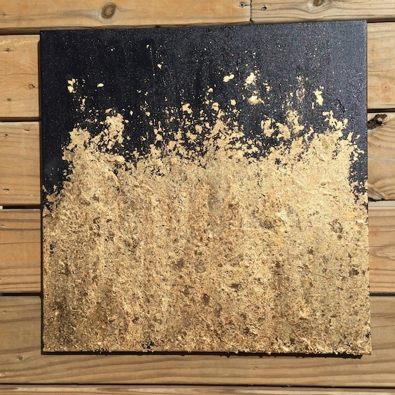 Wall Decor Gold Leaves : Contemporary gold leaf painting original abstract modern