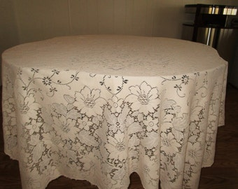 Vintage Quaker Lace Cloth Cream Colored Tablecloth #300,Heavy Vintage Tablecloth, Floral Lace Cloth Tablecloth,Vintage Quaker Tablecloth