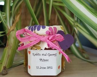 Personlised Jam jar wedding favours