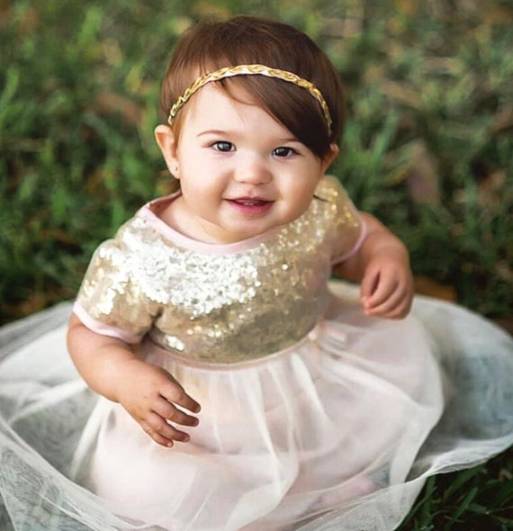 Bianca Dress, Baby Girl Christening Dress, Baby Baptism Dress, Light Pink and Gold Sparkle Dress, Sequin dress, Birthday Baby Dress