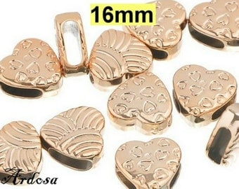 2 Schiebeperlen rose gold heart 16mm acrylic (641.1)