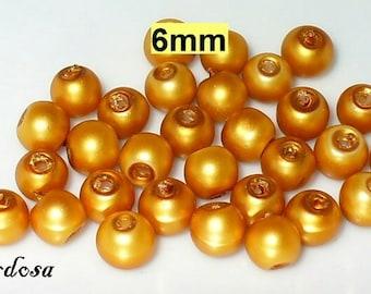 30 glass clear matte beads 6 mm dark gold (806.50.2)