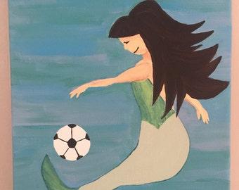 Soccer Playing Mermaid Original Painting//Asian Mermaid Art// Children's Artwork// Nursery Decor