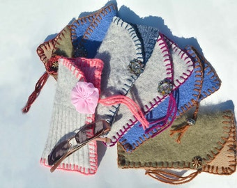 Eye Glass Pouches todays special blue and brown!