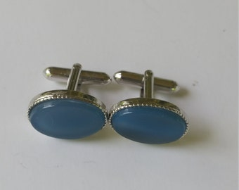 Vintage Swank Cuff Links Silver Tone Blue Cabuchon