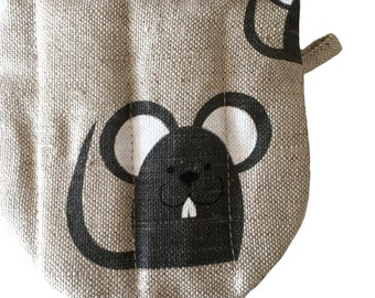 "Diner oven gloves, baking glove, potholders, cooking-mitts ""Black cat"" (5"" x 5"") linen/cotton,  gift"