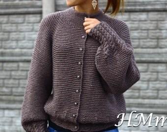 Knitting Pattern -Knit Jacket pattern - PDF- download -file patterns (SIZE: 9/10;11/12 ;S;M;L;XL)