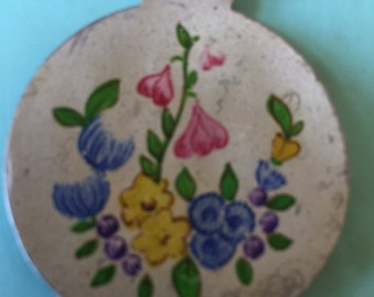 Very Old 900 Silver Hand Painted Medallion Charm