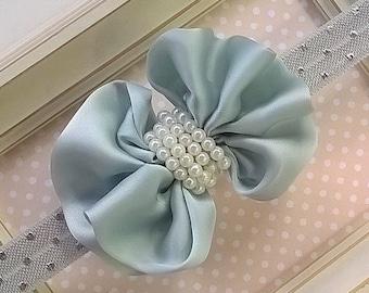 Aqua and Pearls - Infant/Toddler Headband
