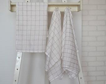 Set of 3 linen tea towels, linen towels, linen kitchen towels, linen hand towels, linen dish towels,white