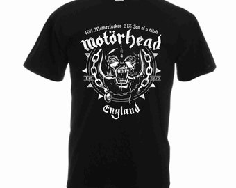 New Motorhead England Rock Black Shirt T-SHIRT Screen Print 100% Cotton