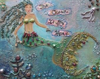 Ocean Decor Beach Decor Mixed media Assemblage Original Art Mermaid Art Shades of Blue M7