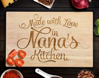 Custom Cutting Board Rustic Birthday Gift Made with Love in Nana's Kitchen Custom Wood Chopping Block Script Font Personalized CB090