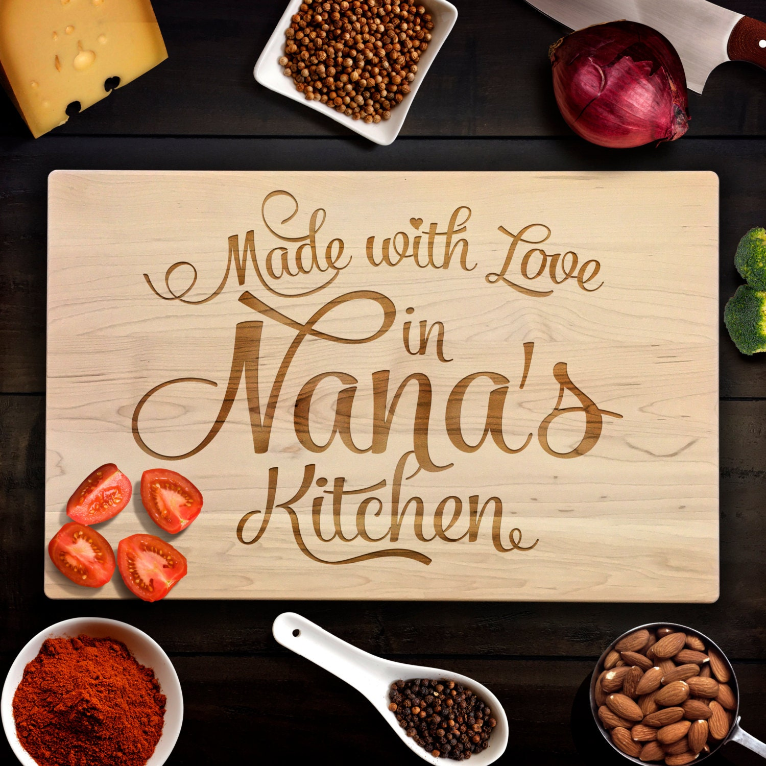 Custom Cutting Board Rustic Birthday Gift Made with Love in Nana\'s ...