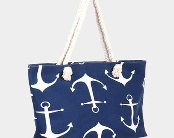 Anchor Print Beach Bag