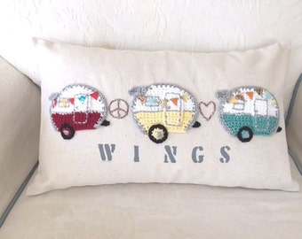Vintage Retro Camper hand crafted/crochet pillow 12x20