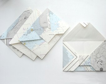 Four origami envelopes - Nautical charts - Paper folded without using glue - Recycling - Upcycling - Handmade in Iceland