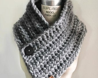 Cowl Scarve with Buttons - Grey - Handmade Crocheted Scarf a93e03eda4f7f