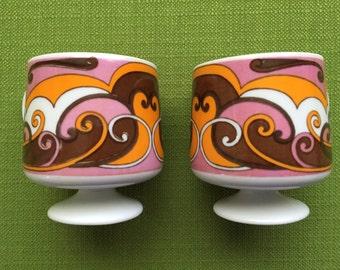 Vintage Holt Howard Mod/Retro Pedestal Porcelain Coffee Mugs Set of 2