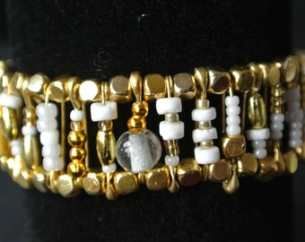 Safety Pin Bracelet - White & Gold